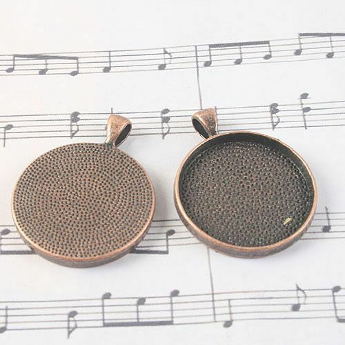 2pcs antiqued copper round 30mm  photo frame  cabochon  settings G1414