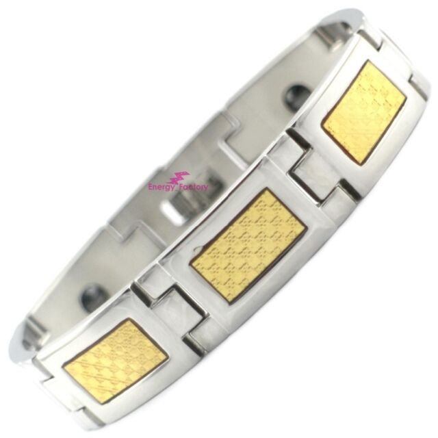 Chunky Gold Foil Magnetic Bracelet Power Bio Energy Arthritis Wristband