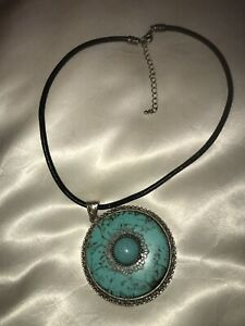 Round-Faux-Turquoise-Silvertone-Pendant-Black-Leather-Cord-Necklace-Jewelry-18-034