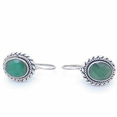 Sterling Silver Vintage Detailed Cable Design Genuine Emerald Drop Earrings