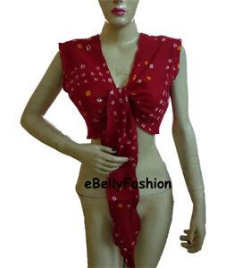 Belly-Dance-TIE-amp-DYE-Cotton-Top-Tie-Ruffle-SHORT-Wrap-Choli-Gypsy-haut-Blouse