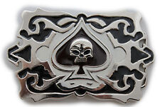 Men Silver Large Belt Buckle Square Black Skull Skeleton Ace Of Spades Gothic