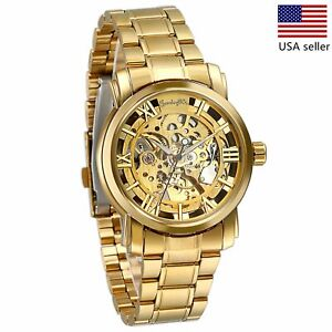 Luxury-Mens-Stainless-Steel-Gold-Tone-Skeleton-Automatic-Mechanical-Wrist-Watch