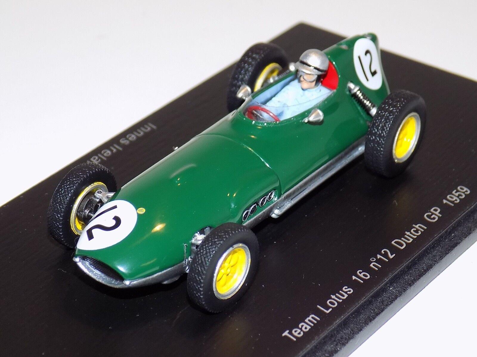1 43 Spark Lotus 16 coche de Fórmula 1 F1 S1837 holandés Grand Prix Innes Ireland