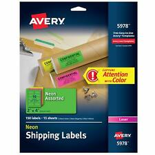 Avery High Visibility 2 X 4 Inch Labels Assorted Fluorescent Colors 150 Pack
