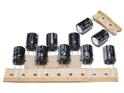 Nichicon UBT 1800uF 25V 125/'C Long Life radial electrolytic capacitors 10pcs