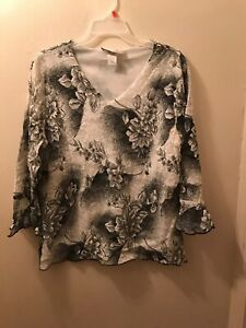 Women-s-3-4-Sleeve-Top-Black-White-Floral-1X-Dress-Barn-Woman-Nylon-Blend