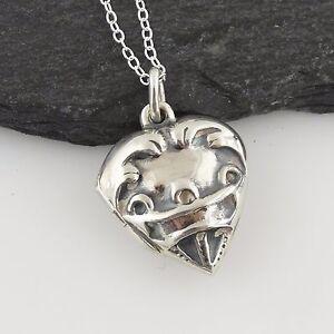 Petit-c-ur-Photo-Medaillon-Collier-Argent-Sterling-925-Coeurs-Love-Cadeau-Nouveau