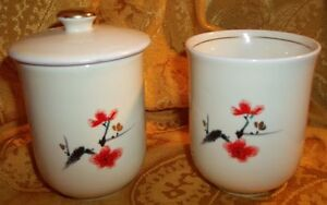 Collectible-Set-of-Vintage-Cream-Bathroom-Cup-amp-Cotton-Ball-Holder-Made-In-Japan