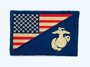 United-States-Marine-Corps-USMC-amp-American-Flag-Patch-Rustic-Red-White-amp-Blue