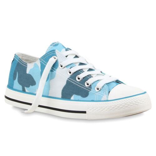 Damen Herren Kinder Low Sneakers Prints Bequeme Schnürer Schuhe 76387 Trendy
