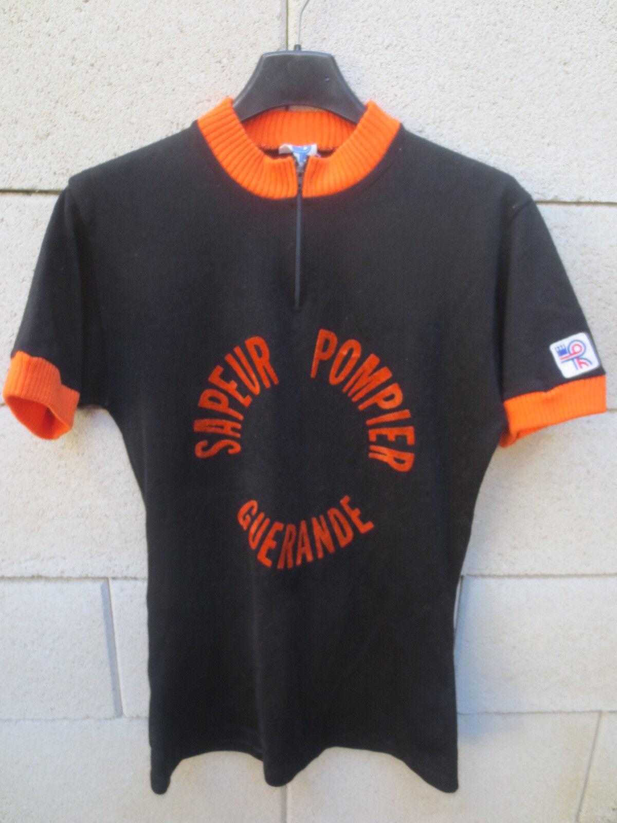 VINTAGE Maillot cycliste SAPEURS POMPIERS GUERANDE années 70 black orange shirt 3