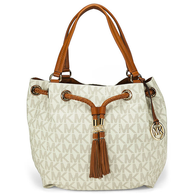 Michael Kors Jet Set Gathered Large Tote Handbag in Vanilla - Cream
