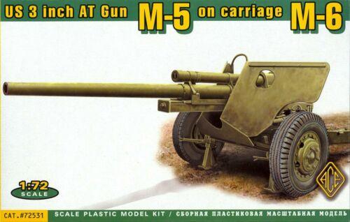 "World War II M5 3/"" ANTI-TANK GUN on M6 GUN CARRIAGE Ace Models 1//72 U.S"