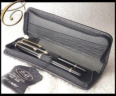 Etui für 2 Schreibgeräte Stifte aus LEDER BRAUN Pen Pouch Leather ANPASSBAR