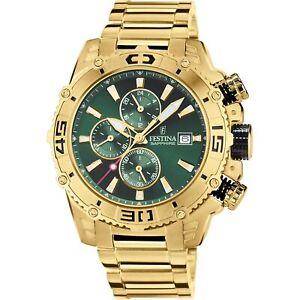 Festina F20492-3 Men's Prestige Gold Tone Green Dial Wristwatch