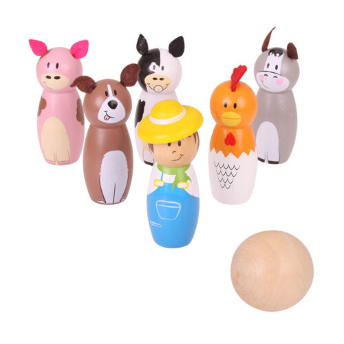 Bigjigs Toys Wooden Mini Farm Skittles Bowling Play Set Kid/'s Children