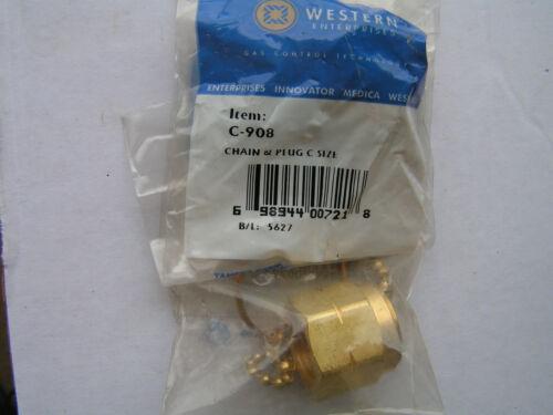 """Western C-908 C-8 Brass Chain /& Plug Female Accetylene L.H Nut//Plug 7//8/""""-14 NEW"""
