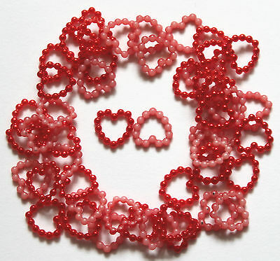 50 Pearl Beaded Heart Embellishments Card Making & Wedding Craft Choice Colours