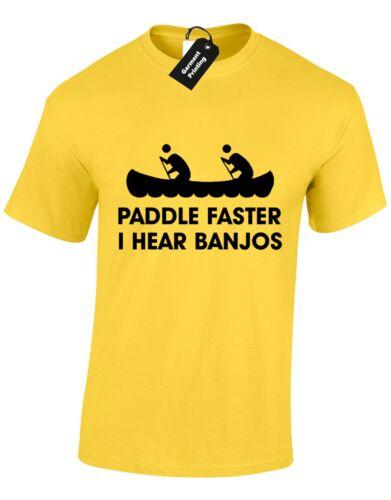 PADDLE FASTER MENS T SHIRT KAYAK CANOE DELIVERANCE NOVELTY REDNECK FILM NEW