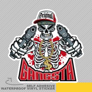 Gangster Skeleton Pointing Guns Vinyl Sticker Decal Window Car Van Bike 2644