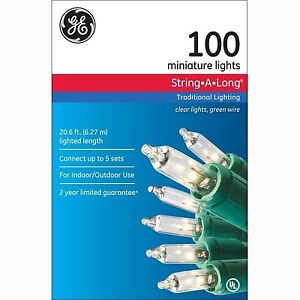 Ge clear 100 miniature indooroutdoor christmas lights green wire stock photo mozeypictures Images