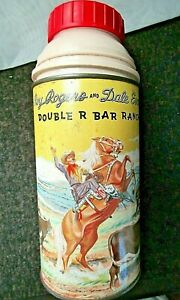 VINTAGE-HOLTEMP-10-oz-ROY-ROGERS-amp-DALE-EVANS-DOUBLE-R-BAR-RANCH-YELLOW-THERMOS