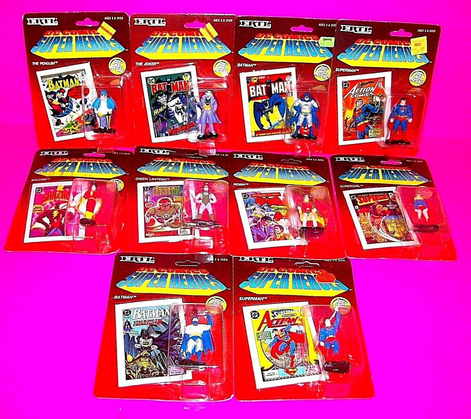 ERTL RARE DC COMICS SUPER HEROES Die-Cast Action Figures w COMIC BOOKS FULL SET