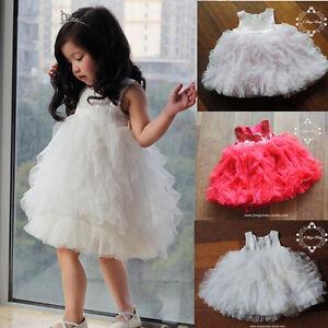 Flower-Girl-Sequin-Tulle-Tutu-Baby-Dress-Princess-Vintage-Party-Wedding-Gift