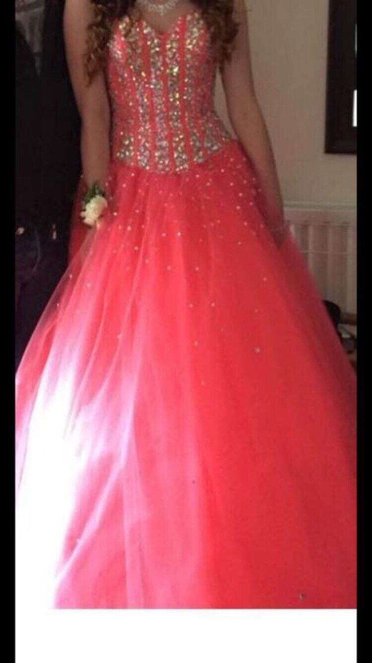 Womens Prom Dress, Size 10, Only Worn Once, Coral Pink Princess Dress