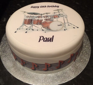 Astounding Drums Drum Kit Pre Cut Edible Icing Cake Topper Or Ribbon Ebay Funny Birthday Cards Online Overcheapnameinfo