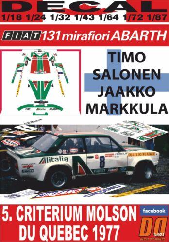 08 DECAL FIAT 131 ABARTH T.SALONEN CRITERIUM MOLSON DU QUEBEC 1977 WINNER