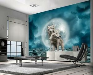 White Wolves Fantasy Wallpaper Woven Self Adhesive Wall Mural Art