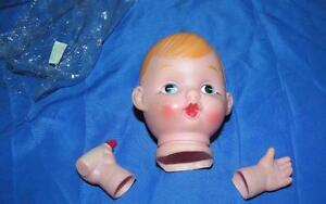 VTG-1970-039-S-DOLL-MAKING-PARTS-VINYL-DOLLS-HEAD-W-HANDS-RED-HAIRED-BABY-BOY