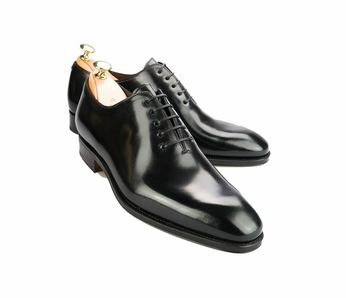 Handmade Herren Echtes Schwarzes Leder Klassische Oxford Herren One Piece Schuhe
