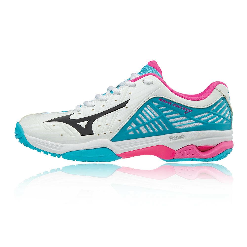 Mizuno Damen Wave Exceed 2 All Court Tennis Schuhe Sport Turnschuhe Blau Weiß