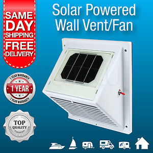Solar Powered Exhaust Fan, Wall Vent, Solar Air Extraction Vent for Boat, Home