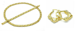 14K-Gold-Plated-Hugs-Kisses-XOXO-Necklace-Bracelet-Earrings-Set-XO-Heart-Hoops
