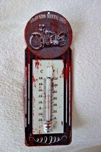 Nostalgie Thermometer Blechschild Biker Legends Never Die Retro Stil 29x11cm NEU