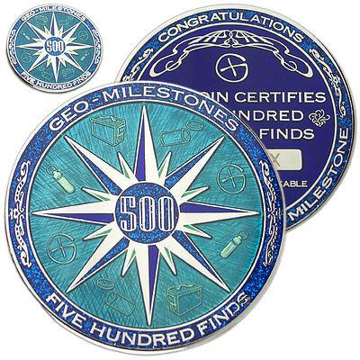 Disinteressato 500 Trova Geo-milestones Geocoin E Pin Set-consegna Il Vostro Geocaching Successo- Diversificato Nell'Imballaggio