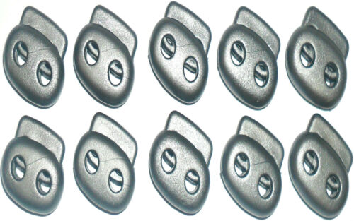 GREY H-20MM CHOOSE QUANTITY SPRING TWIN HOLE CORD LOCK PLASTIC TOGGLES W-24MM