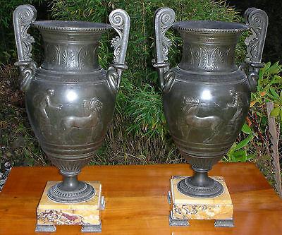 Paar Empirevasen Bronzeart Und Marmor Antik Vasen Groß Um 1880 Frankreich Vases Bronze