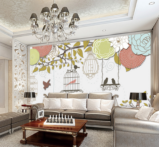 3D Fashion Birdcages 7 Wall Paper Murals Wall Print Wall Wallpaper Mural AU Kyra