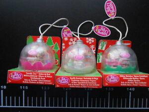 3 poupées Polly Pocket Trio Mini boule de neige de Noël Christma Ball