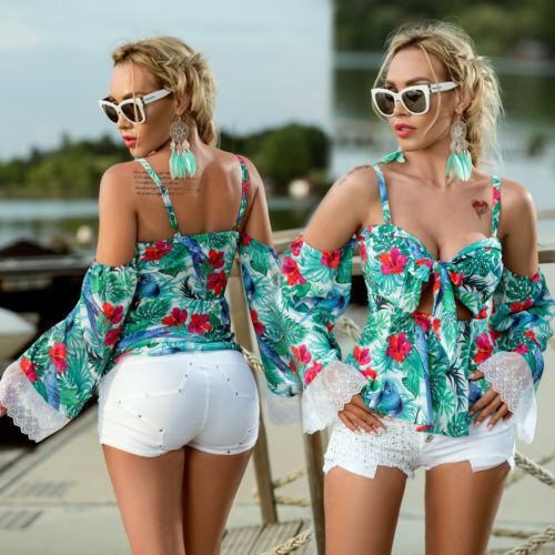FOGGI Damen  Blause Tunika Shirt  Top 34,36,38 Grün Geblümt