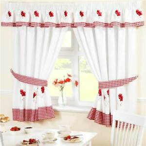 Gingham Poppies Kitchen Curtains Pelmet Seat Pad Red White Ebay