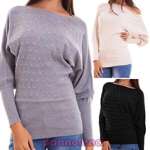 Maglione-donna-pullover-maglia-maniche-pipistrello-strass-elastico-nuovo-8855