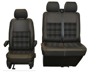 INKA-VW-Transporter-T6-1-T6-T5-1-Front-Tailored-Seat-Covers-Black-Leatherette