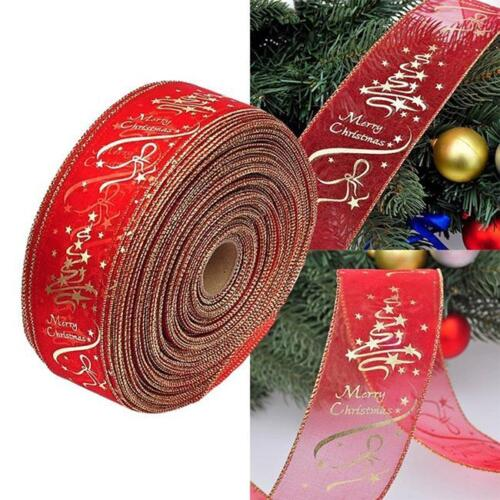 1 Roll Organza Ribbon Christmas Stars Xmas Cake Decoration Wreath Bow Gift 8C