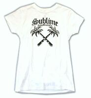 Sublime Palm Trees Long Beach Ca Girls Juniors White T Shirt Official Soft